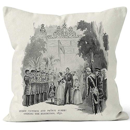 Queen Victoria and Prince Albert Opening The Great Exhibition Home Decorative Throw Pillow Cover Square Pillow case 18x18 Inches