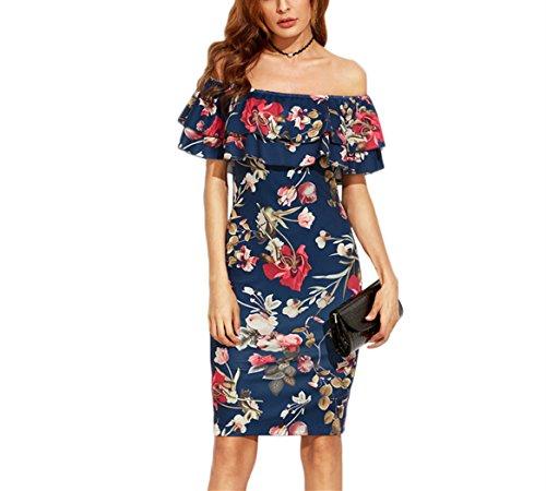 Vestido de Mujer, Lananas Verano Fuera del Hombro Falbala Ajustado Estampado Floral Elástico Midi Vestir Elastic Midi Dress: Amazon.es: Ropa y accesorios