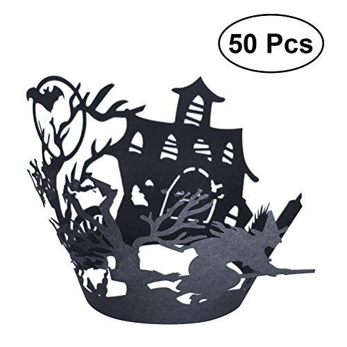 HEALIFTY 50pcs Halloween Lace Cut Cupcake Wrapper Liner