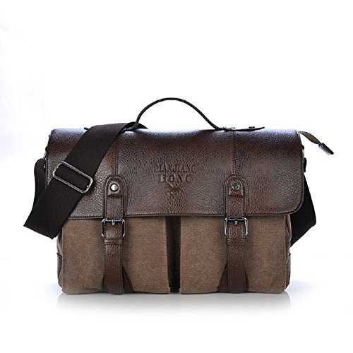 MiCoolker(TM) Retro Vintage Classic Portable Canvas Business School College Leather Cross Body Laptop Messenger Shoulder Bag Handbags for Men Women Heavy Weight