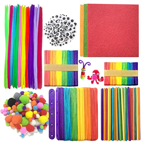 (Wartoon Pipe Cleaners Chenille Stem and Pompoms with Googly Wiggle Eyes and Craft Sticks Non-Woven Felt Fabric Sheets for Craft DIY Art Supplies, 707 Pieces)