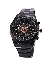 RUSSIAN SKELETON Oversized Men's Automatic Mechancial Wrist Watch All Metal Black Dial Case #1 GIFT