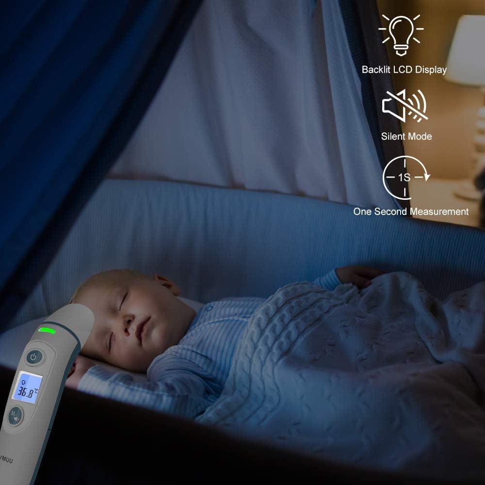 Certification CE//RoHS//FDA Enfants SVMUU Thermom/ètre B/éb/é Frontal et Oreille num/érique Thermom/ètre 4 en 1 Multifonction Tricolore Alarme pour b/éb/és Adultes et Objets