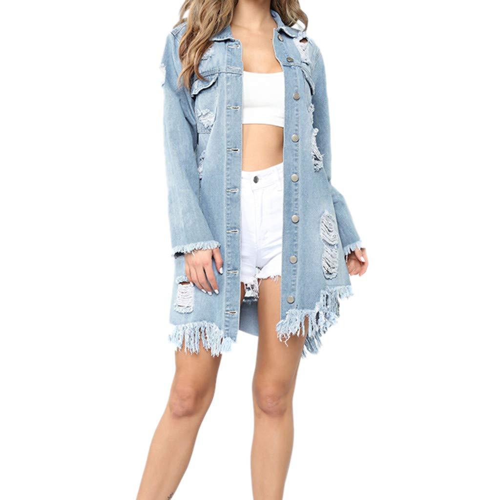 Giacca da Donna in Denim di Moda Cappotto di Jeans Lungo Strappato Cappotto da Giacca con Bottoni Stile Casual da Donna