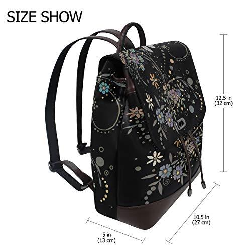 Trollslända ryggsäck handväska mode PU-läder ryggsäck ledig ryggsäck för kvinnor