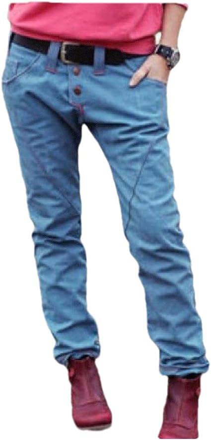 cheelot Womens Lounge Middle Waist Pocket Straight Fall Winter Denim Pants