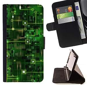 Momo Phone Case / Flip Funda de Cuero Case Cover - Código Chip Tecnología Arte Verde - Samsung Galaxy J1 J100
