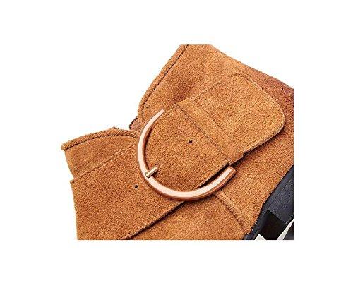 pelle pelle femminile corto scarpe temperamento stivali tubo tornito 37 semplice stivali brown Casuale nuda smerigliato xzg7RvWn