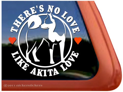There's No Love Like Akita Love ~ Dog Vinyl Window Decal Sticker 1