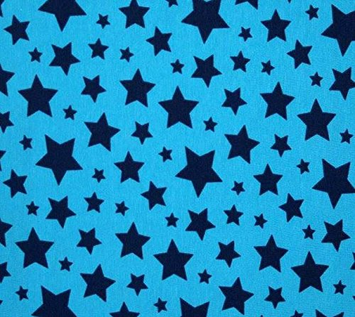 Knit Blue/Blue Stars Design Fabric By the Yard, 95% Cotton, 5% Lycra, 60 Inches Wide, Excellent Quality, 4 Way Stretch, Medium Weight (3 yards)