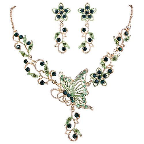 Emerald Green Costume Jewelry Sets (EleQueen Women's Austrian Crystal Butterfly Flower Leaf Necklace Earrings Set Gold-Tone Emerald color)