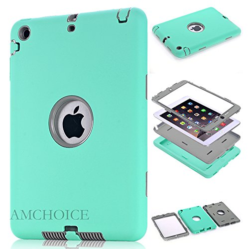 iPad Mini 3 Case,iPad Mini 2 Case, AMCHOICE(TM) Full Body Hybrid Silicone&PC 3 Layer High Impact Resistant Case For Apple iPad Mini 1//2/3 (Mint Green+Gray) [Free Stylus]
