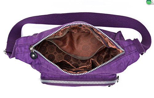 Sulliva Crossbody Bag resistant Nylon Shoulder wtih Women's Lightweight Pockets Multi Zipper Purple Water Kayers 0HwdqC0