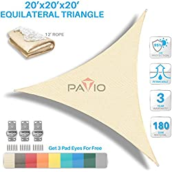 Patio Paradise Sun Shade Sail Triangle Canopy - Permeable UV Block Fabric Durable Outdoor - Customized Available 20' x 20' x 20' Beige