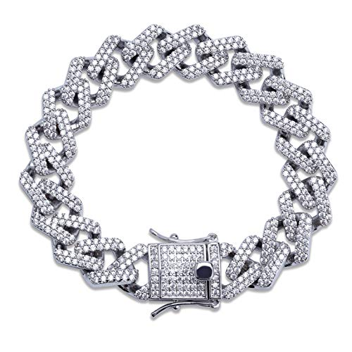 TOPGRILLZ Hip Hop 14mm Simulated Lab Diamond Iced Out Miami Curb Link Chain Bracelet for Men (Silver 7