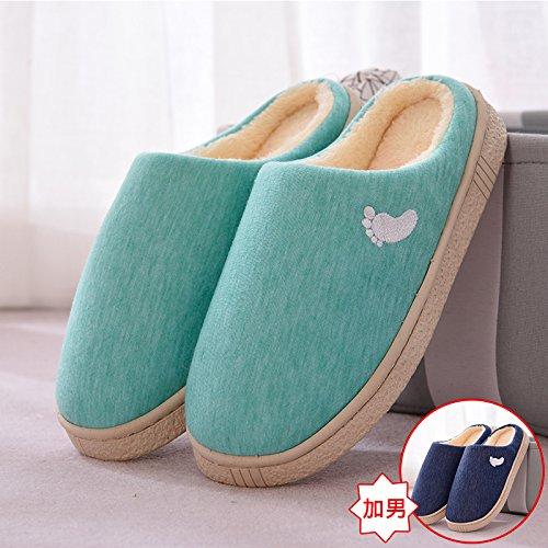 Inverno fankou paio di pantofole di cotone indoor uomini e donne anti-slittamento caldo spesse pantofole ragazze stare a casa, 2 doppia-36-37, menta verde + blu scuro