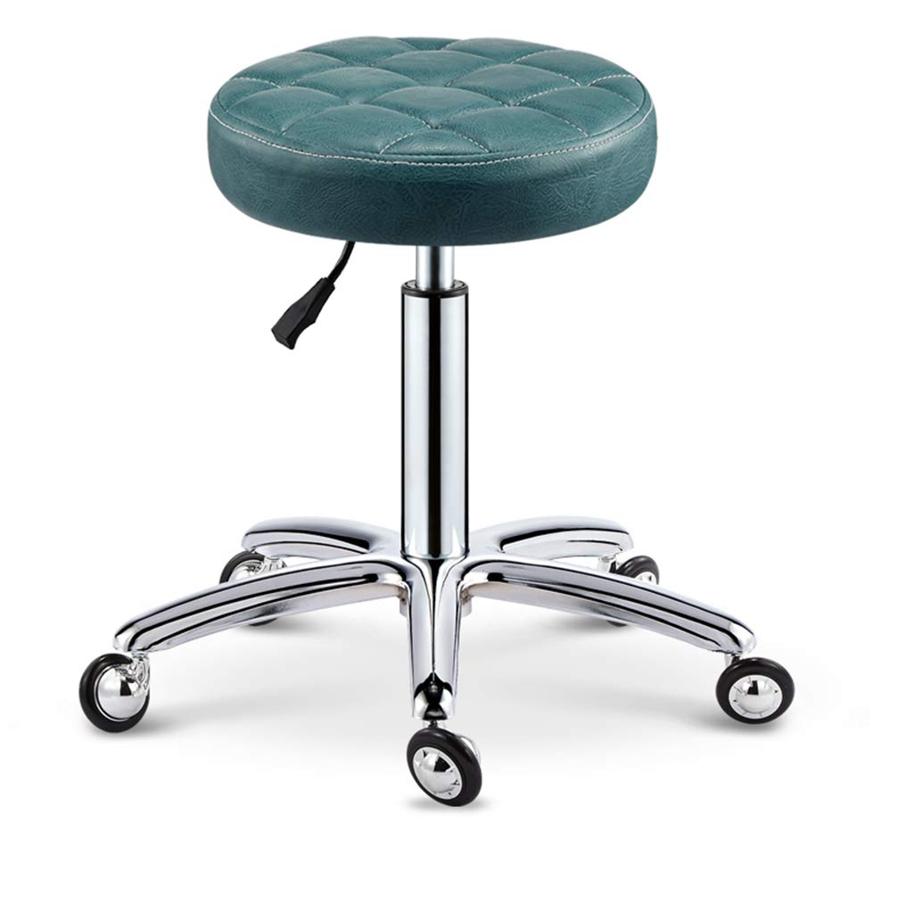 GREEN Round Adjustable Height Work Office Stools Swivel Stool Chair with 5 Big Wheels, Rolling Metal Stool for Kitchen Massage Salon Bar Office,Black