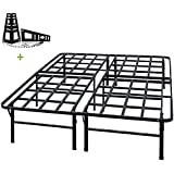 TATAGO 3000lbs Max Weight Capacity 16 Inch Tall Heavy Duty Platform Bed Frame & 2 Set Headboard Bracket, Mattress Foundation, Non-Slip, No Noise & No Box Spring Need for Saving Money, Full
