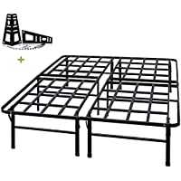 TATAGO 3000lbs Max Weight Capacity 16 Inch Tall Heavy Duty Platform Bed Frame & 2 Set Headboard Bracket, Mattress Foundation, Non-Slip, No Noise & No Box Spring Need Saving Money, Full