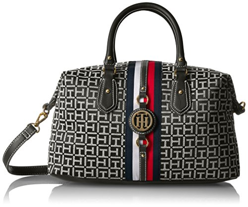 Tommy Hilfiger Handbag Jaden Satchel, Black/White by Tommy Hilfiger