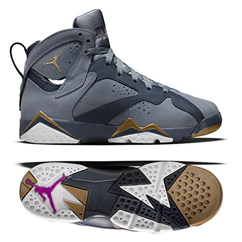 Nike AIR JORDAN 7 RETRO (GG) BLUE DUSK-GOLD SZ 5.5Y -WOME...