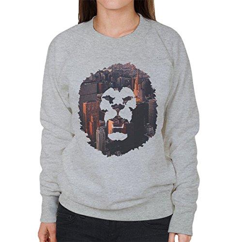 Cityscape Lion Grey Women's Heather Sweatshirt zgg7qxdwT
