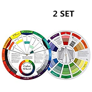 2 Set Color Mixing Guides, Plus Creative Color Wheel with Color Sectors Showing Relationships Between Colors(4 Pack)
