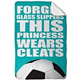 ChalkTalkSPORTS Soccer Sherpa Fleece Blanket | This Princess Wears Cleats | Teal