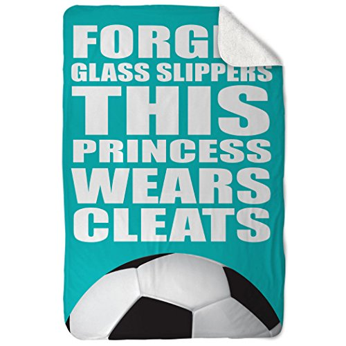 Price comparison product image ChalkTalkSPORTS Soccer Sherpa Fleece Blanket | This Princess Wears Cleats | Teal