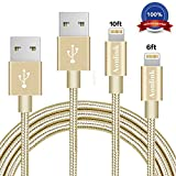 Aonlink iPhone Charger Cord, 2Pack 6FT 10FT Nylon Braided Lightning to USB Cable with Aluminum Connector for iPhone 7/7 Plus/6s/6s Plus/6/6Plus/5s/5c/5, iPad/iPod Models-Gold