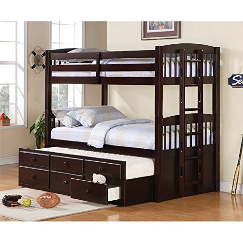 Bowery Hill Twin Over Twin Bunk Bed in Cappuccino