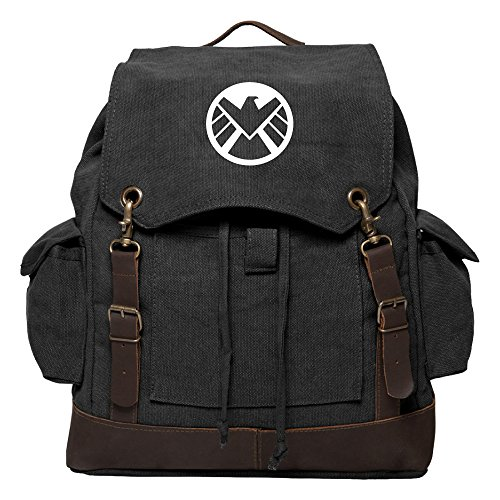 Agents of Shield Logo Canvas Rucksack Backpack with Leather Strap Black & White ()