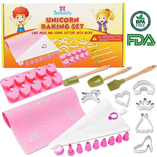 Fun Kids Unicorn Cookie Baking Set with Cupcake Mold, Cookie Cutters, 8 Frosting Decorating Tips, Kid Size Spatula, Brush, Spoon. Frosting Bag, Silicone Mat with Measurements, Delicious Recipes (Baking Cookie Kit)