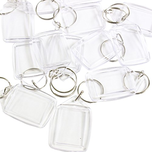 100 Clear Blank Photo Picture Keyrings Key Chains Inserts 35mm x 25mm by Kurtzy TM