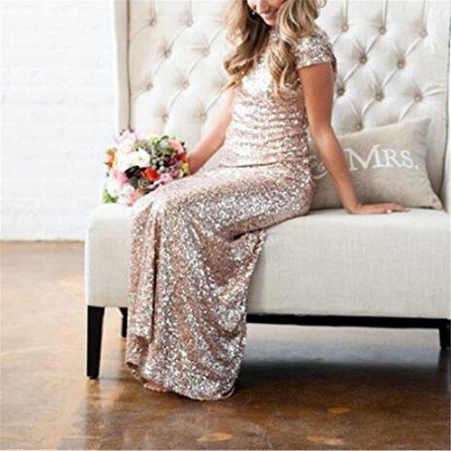 Women Dress Champagne Summer Bridesmaids Dresses Sequined Dress Lady Backless Evening Sexy Dress