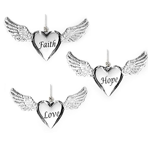 Faith Hope Love Ornaments - Set of 3 Hearts with Wings – Clear Glass Ornament Set with Silver Writing – Christmas Ornament Sets (Glass Heart Spun)