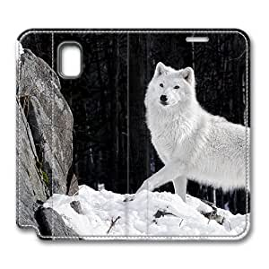 Brain114 Fashion Style Case Design Flip Folio PU Leather Cover Standup Cover Case with White Wolf 3 Pattern Skin for Samsung Galaxy Note 3