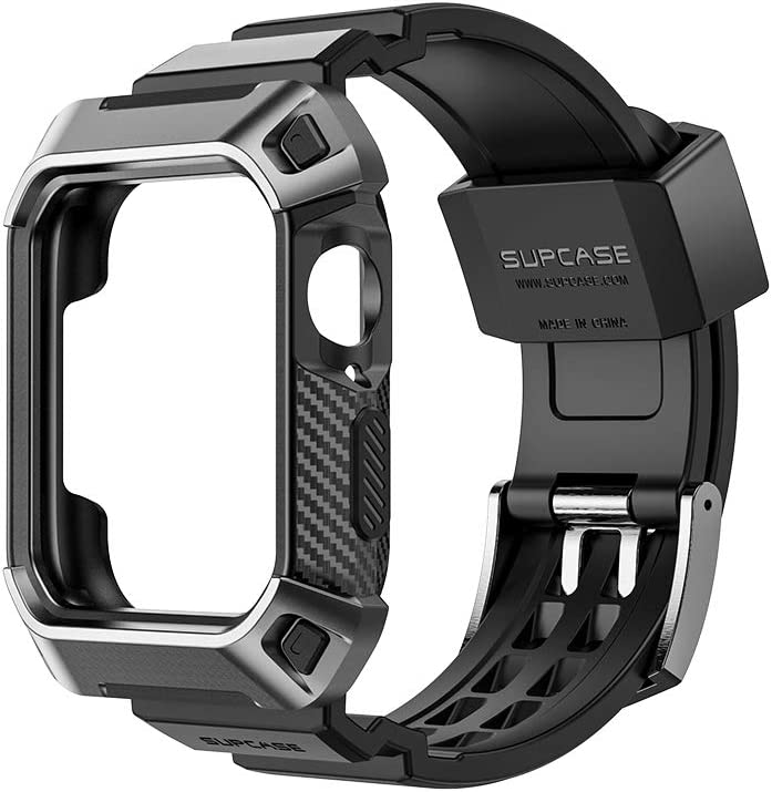SupCase Rugged Protective Case for Apple Watch 4 / Watch 5 [44mm], with Strap Bands for Apple Watch Series 4 2018 / Series 5 2019 [Unicorn Beetle Pro] (Black)