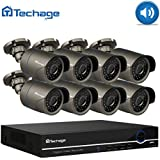 Techage 48V 8CH 1080P POE Home Surveillance Security Camera System with Audio/Night Vision/Motion Detection/Email Alert/Remote View, Without Hard Drive, Grey