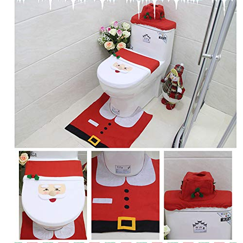 Christmas Toilet Seat Cover Mat Decor Bathroom Set Red Or White Santa 4 pcs Hand