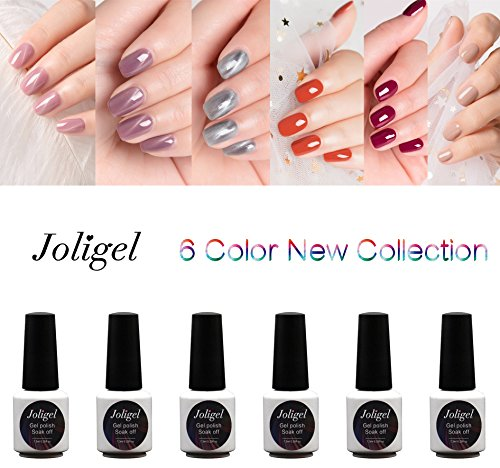 Joligel Gel Nail Polish Set UV LED for Nail Art, 3 Magnetic 3D Cat Eye (Pink + Greyish Violet + Grey) + 3 Solid Colors (Persimmon Fruit Red Orange + Creamy Bordeaux Red + Creamy Apricot Pink Nude)