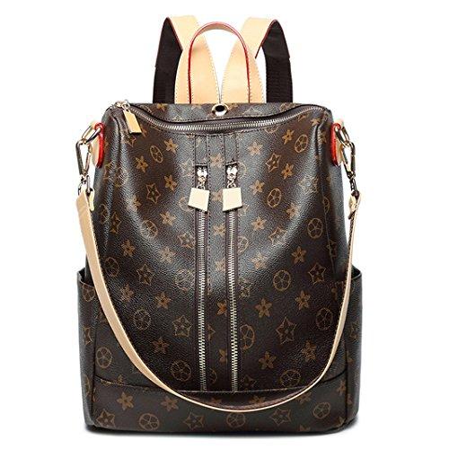 Hgdr sac de voyage femme sac à dos en cuir pu vintage grande capacité, café-30 * 15 café 33