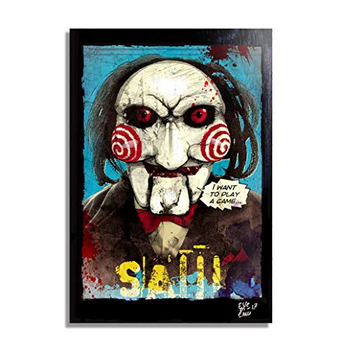 Billy The Puppet from Saw Movies (Jigsaw) - Pop-Art Original Framed Fine Art Painting, Image on Canvas, Artwork, Movie Poster, Horror, -
