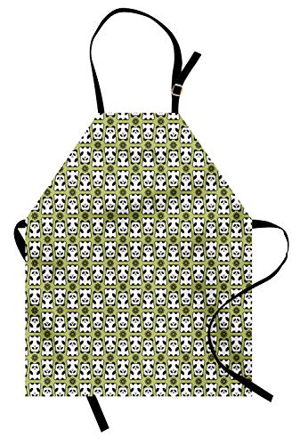 Lunarable Panda Apron, Geometrical Up and Down Panda Pattern Daisy Flowers Cute Funny Bears, Unisex Kitchen Bib Apron with Adjustable Neck for Cooking Baking Gardening, Pistachio Green White Black