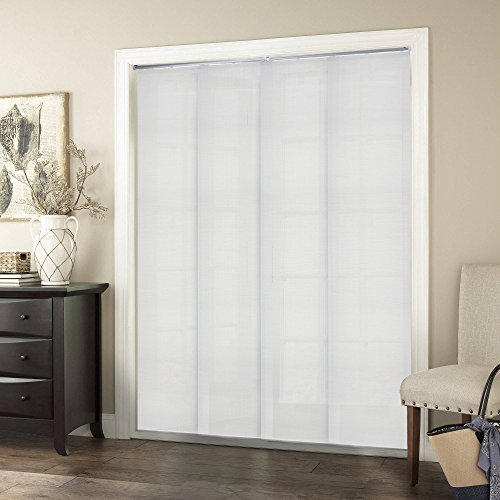 Chicology Adjustable Sliding Panels, Cut to Length Vertical Blinds, Birch White (Natural Woven) - Up to 80