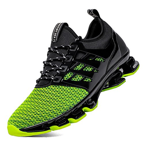FOVSMO Men's Blade Sneakers Mesh Breathable Fashion Sports Casual Walking Running Shoes (1066lv44) Green