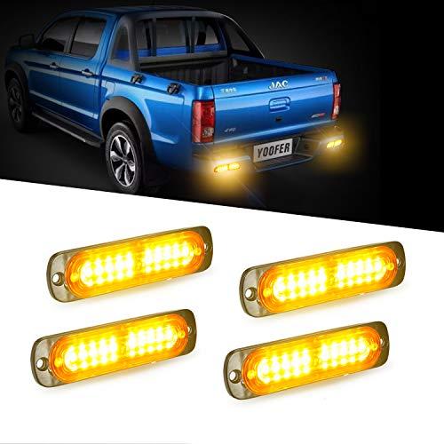Emergency Truck Lighting - 4pcs 10-LED Super Bright Emergency Warning Light, Ultra Slim Hazard Warning Light/Turning Light 12-24V for Truck Car Motorcycle (Amber)
