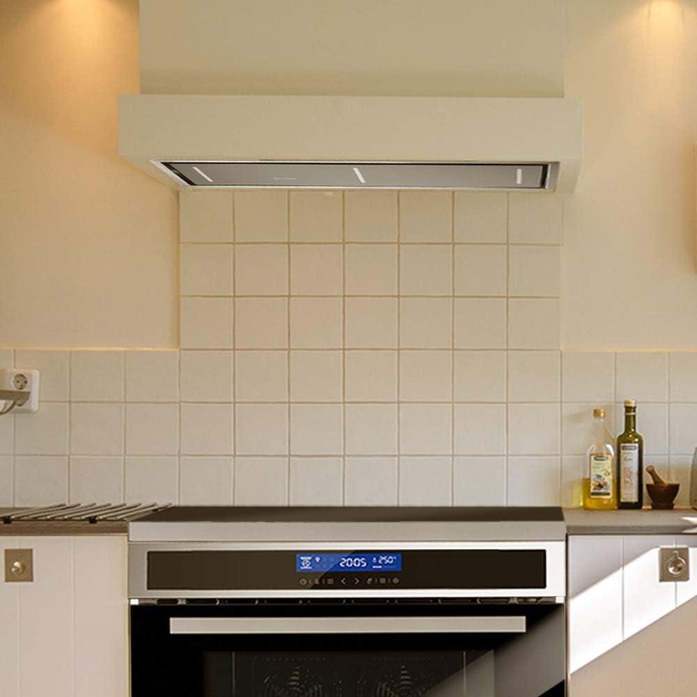 Campana extractora de techo, módulo de ventilador (110 cm, acero inoxidable, 4 escalones, cristal negro, iluminación LED, control SensorTouch, aire de escape o aire circulante) INTEGRA110 - KKT KOLBE: Amazon.es: Hogar