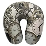 KIENGG Vintage Steampunk Clocks Memory Foam U-Shaped Pillow,Novelty Travel Rest Pillow For Neck Pain,Breathable Soft Comfortable Adjustable