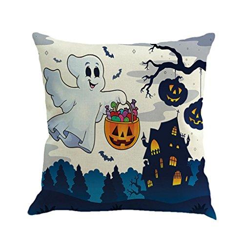 Euone Halloween Ghost Pumpkin Pillow Case Sofa Waist Throw Cushion Cover Home Decor (D) (Motif D'halloween)